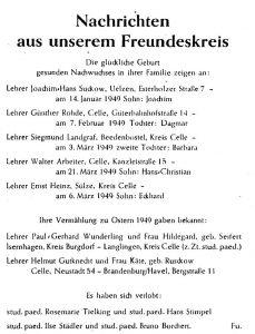 """""""Nachrichten aus Freundeskreis"""" (Glashausblätter Nr. 3, 1949, S. 15)."""