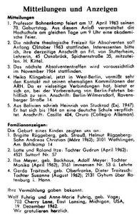 """""""Mitteilungen und Anzeigen"""" (Glashausblätter Nr. 18, 1963, S. 22)."""